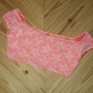 NEW Victoria's Secret lace crop bikini top size L